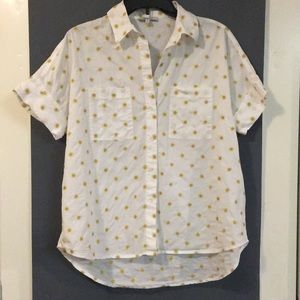 Madewell Courier shirt embroidered suns sz small